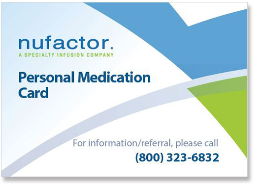 Nufactor Emergency Medical Card